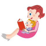 Mom who reads a book Royalty Free Stock Image