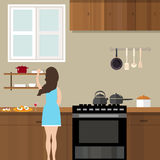 Mom woman cooking in kitchen preparing for food cartoon illustration Royalty Free Stock Photos