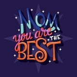 Mom you are the best, Happy Mother's Day, hand lettering typography modern poster design royalty free stock photos