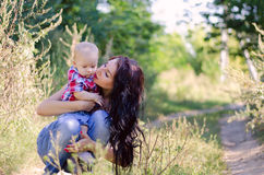 Mom and young son Royalty Free Stock Image