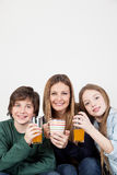 Mom with your kids having the breakfast Royalty Free Stock Photos