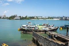 Mombasa Kenya Gammal fiskport royaltyfri foto