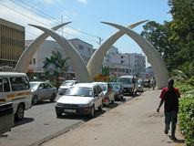 Mombasa Tusks. Symbolic Tusks in Mombasa. Tusks are symbolic representations of entrance into the heart of the town. The tusks were built to commemorate the Royalty Free Stock Images