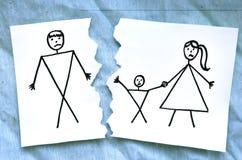 Mome com o desenho do pai do divórcio do filho ilustração do vetor
