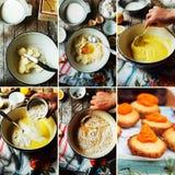 Moment av danande som lagar mat den sandiga kakan med körsbärsröd fyllning: blandning Fotografering för Bildbyråer