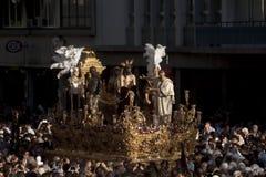 Moment av gåta av brödraskapet av St Benedict, helig vecka i Seville Fotografering för Bildbyråer