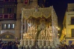 Moment av paliode-la Esperanza Macarena, helig vecka i Seville fotografering för bildbyråer