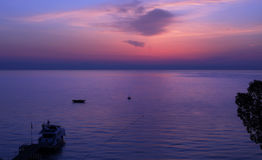 Moment Before Sunrise Over Gulf Of Antalya. Royalty Free Stock Photography