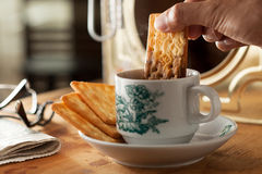 Moment of breakfast. Breakfast with coffee and biscuit Stock Photo