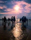 Moment de coucher du soleil de silhouette Photos libres de droits