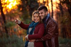 Moment of happiness- young couple Stock Photo