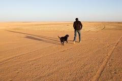 Moment heureux : L'homme court et joue avec son chien dans le désert Photographie stock libre de droits