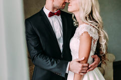 A moment before a kiss between smiling newlyweds. Wedding Stock Photos