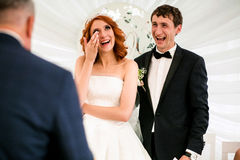 Moment of the married couple on the wedding celebration Stock Image
