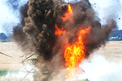A moment of a powerful explosion Dwelling Royalty Free Stock Images