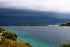 Moment before rain and thunder. Razanj is a small town on the Adriatic coast in Croatia Royalty Free Stock Photo