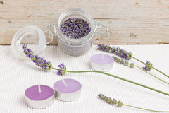 Moment of relaxation with lavender Stock Image