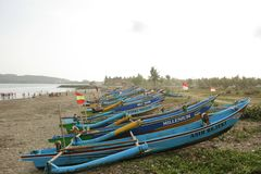 Traditional Boat Lined Up Well stock image