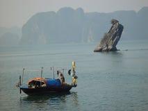 A moment of silence in Halong Bay. Http://www.raconets.com/es/2012/01/escapada-bahia-de-halong-con-paradise royalty free stock photo