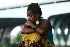 Moment of solitude. African American woman sits and thinks stock image