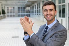 Moment of success with a kudos from your boss Royalty Free Stock Image
