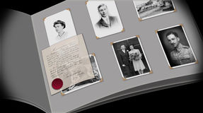 A moment in time photo album. This image is for the concept of a moment in time. It shows a page from an old photographic album which has images of old family vector illustration