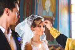 Moment of Wedding Church Ceremony Stock Photos