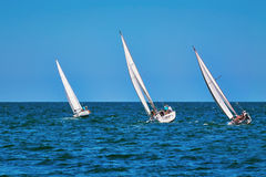 Moment of Yacht Race Royalty Free Stock Photography