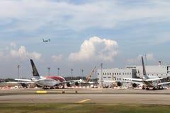 Momentan hatte der Flughafen drei Betriebsanschlüsse Lizenzfreie Stockfotografie