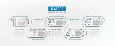 5 momentbeståndsdelar Grafisk design för Workflow Infograph timeline Strategiarbetsdiagram Infographic mall vektor royaltyfri illustrationer