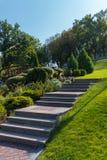 Momenten i parkera läggas ut ur tegelplattorna som upp på går högen med en grön gräsmatta på en sida och figurerade buskar Royaltyfri Bild
