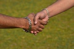 Momenti di handshake con la fotografia verde delle azione del fondo Immagini Stock