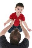Momento adorável da família entre o pai e o filho Imagens de Stock Royalty Free
