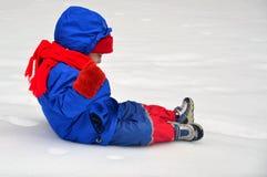 Momento calmo di Childs nella neve Immagini Stock Libere da Diritti