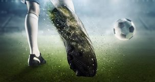 Momento de la meta del fútbol Técnicas mixtas Fotografía de archivo