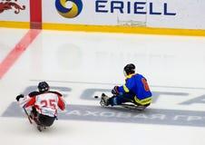 Momento del juego de hockey del trineo Fotos de archivo