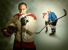 Momento do jogo de hóquei em gelo Foto de Stock