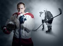 Momento do jogo de hóquei em gelo Fotografia de Stock Royalty Free