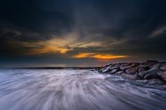 Momento do por do sol e do nascer do sol Fotografia de Stock