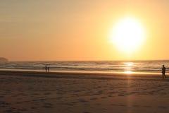 Momento final salvaje de A de una puesta del sol de oro hermosa de la hora en la playa de Dalit, distrito de Tuaran, Sabah, Malas Imagen de archivo libre de regalías