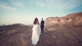Momento que se casa rom?ntico, nuevo par de amor al aire libre almacen de metraje de vídeo