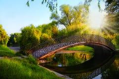Momento romántico de la puesta del sol en el puente en parque imagen de archivo