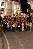 Momentos de destello de la danza de la multitud de la Eurovisión Imágenes de archivo libres de regalías