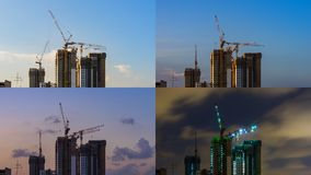 4 Moments of Day to Night View of Construction site in Downtown Royalty Free Stock Images
