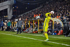 Moments de jeu dans des finales du match 1/8 de la ligue d'Europa Images stock