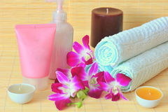 Moments of relaxation - spa products Stock Photography
