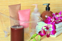 Moments of relaxation - spa products Stock Image