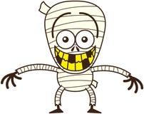 Momia divertida de Halloween que hace muecas mientras que siente desconcertado ilustración del vector