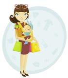 Momia y bebé de las compras Fotografía de archivo libre de regalías