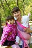 Momie avec deux enfants photographie stock